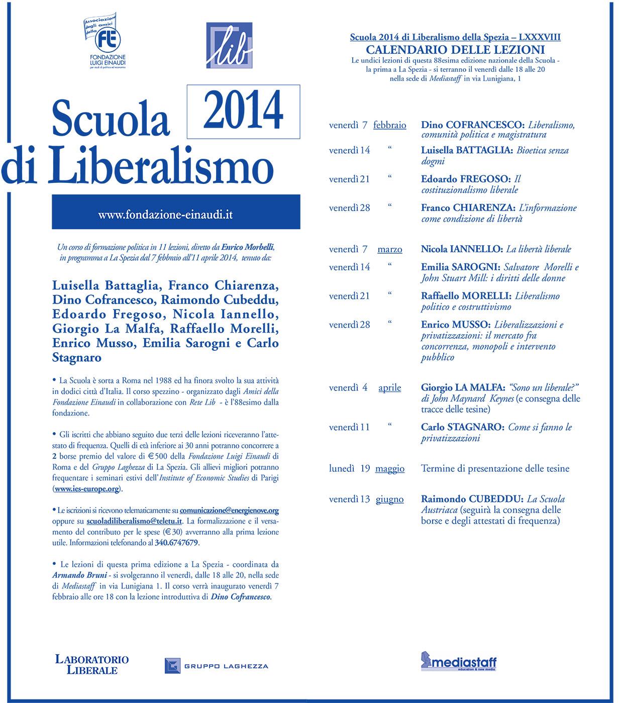Scuola di Liberalismo di La Spezia 2014 – calendario delle lezioni