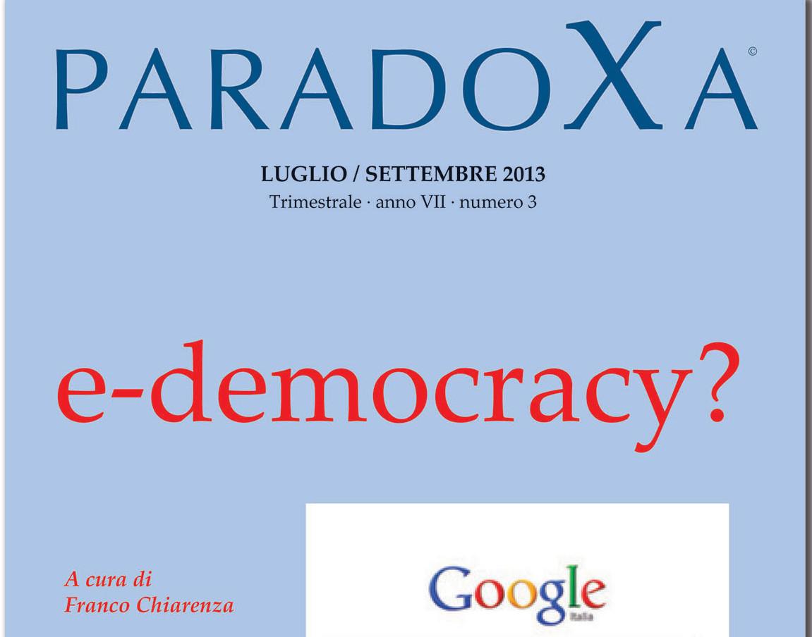 """Presentazione della rivista Paradoxa """"e-democracy"""" – 16.01.2014"""