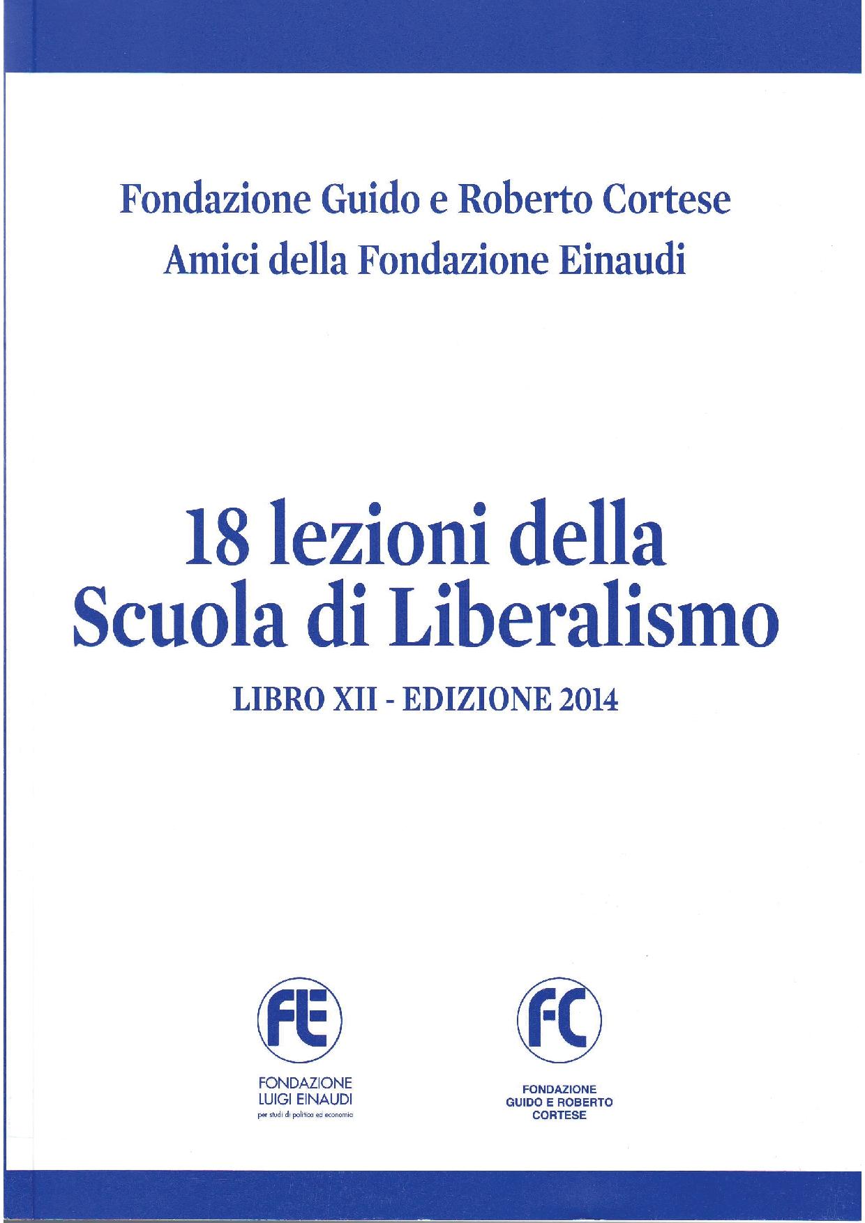 Copertina Scuola di Liberalismo - Libro XII 2014