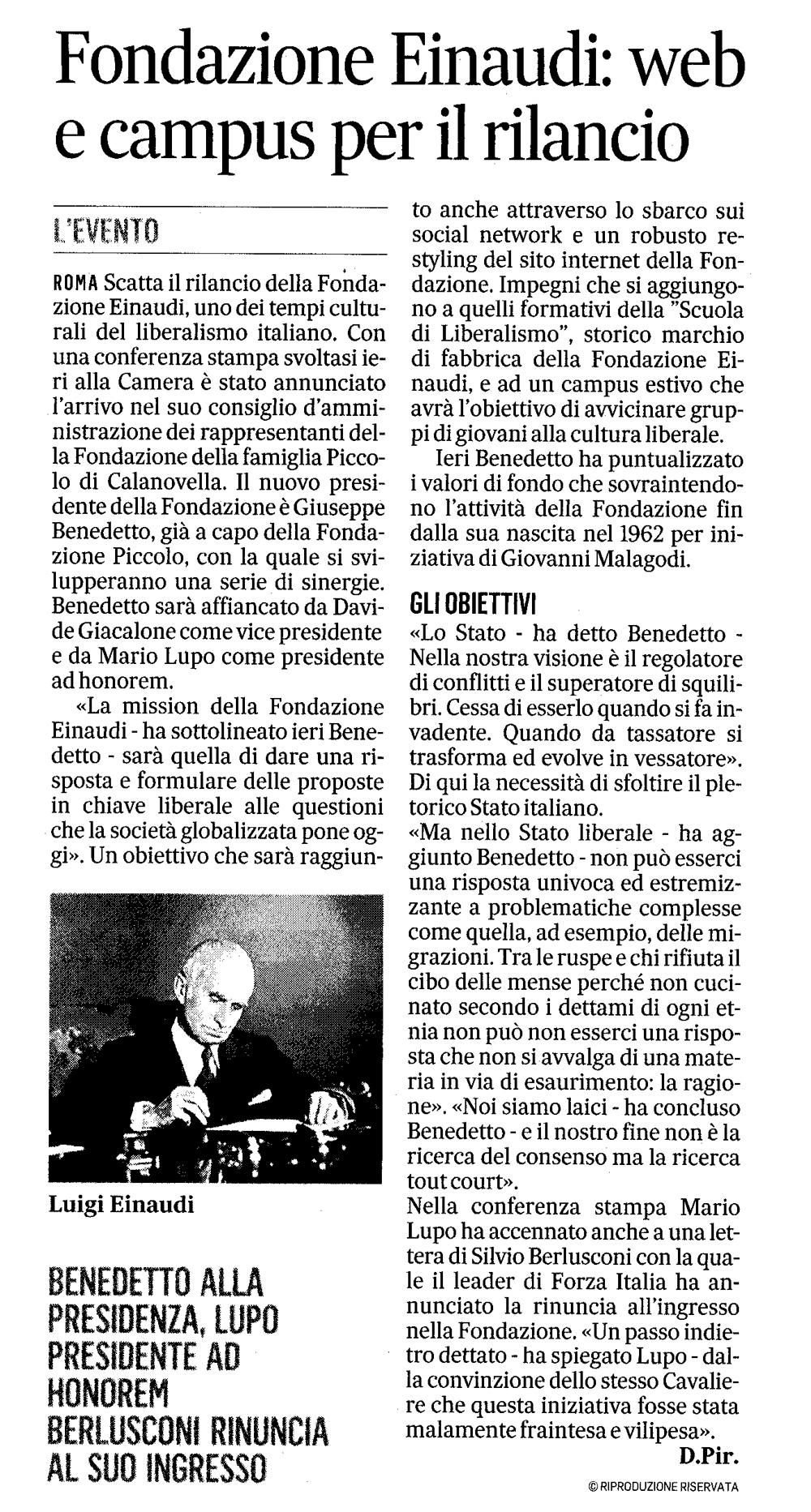 """""""Fondazione einaudi: web e campus per rilancio"""" tratto da """"Il Messaggero"""" del 4 Febbraio 2016"""
