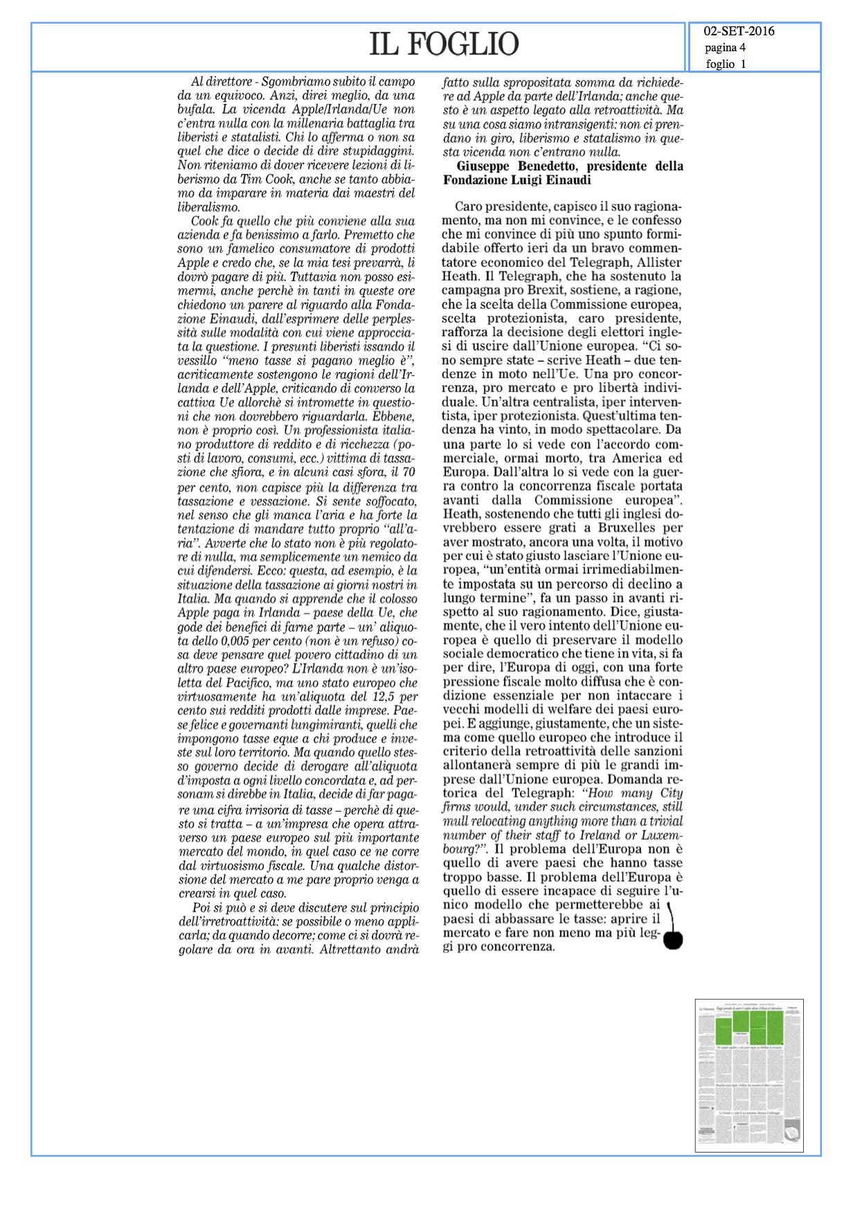 Caso Apple, Irlanda, Ue: Benedetto vs Cerasa
