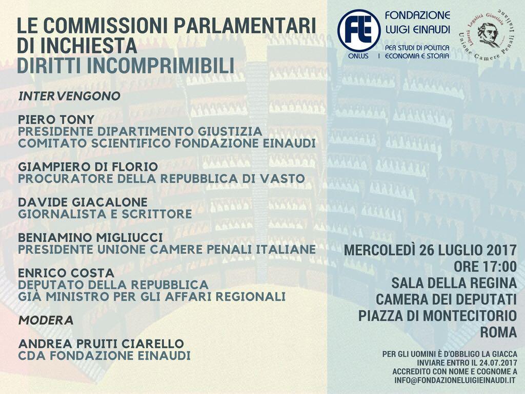 """""""Le commissioni parlamentari di inchiesta – Diritti incomprimibili"""""""