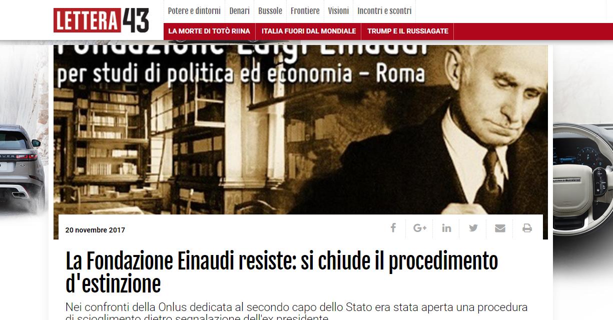 Fondazione Einaudi resiste, si chiude il procedimento d'estinzione