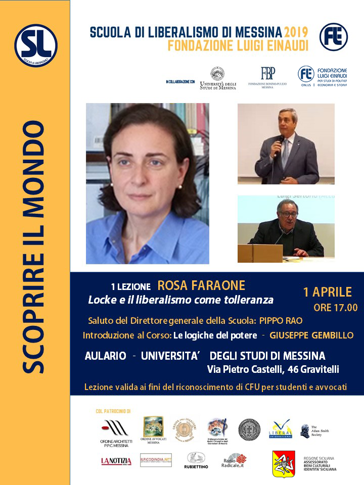 "Liberalism School 2019 – Messina: Rosa Faraone´s lessons on ""Locke and liberalism as tolerance"""