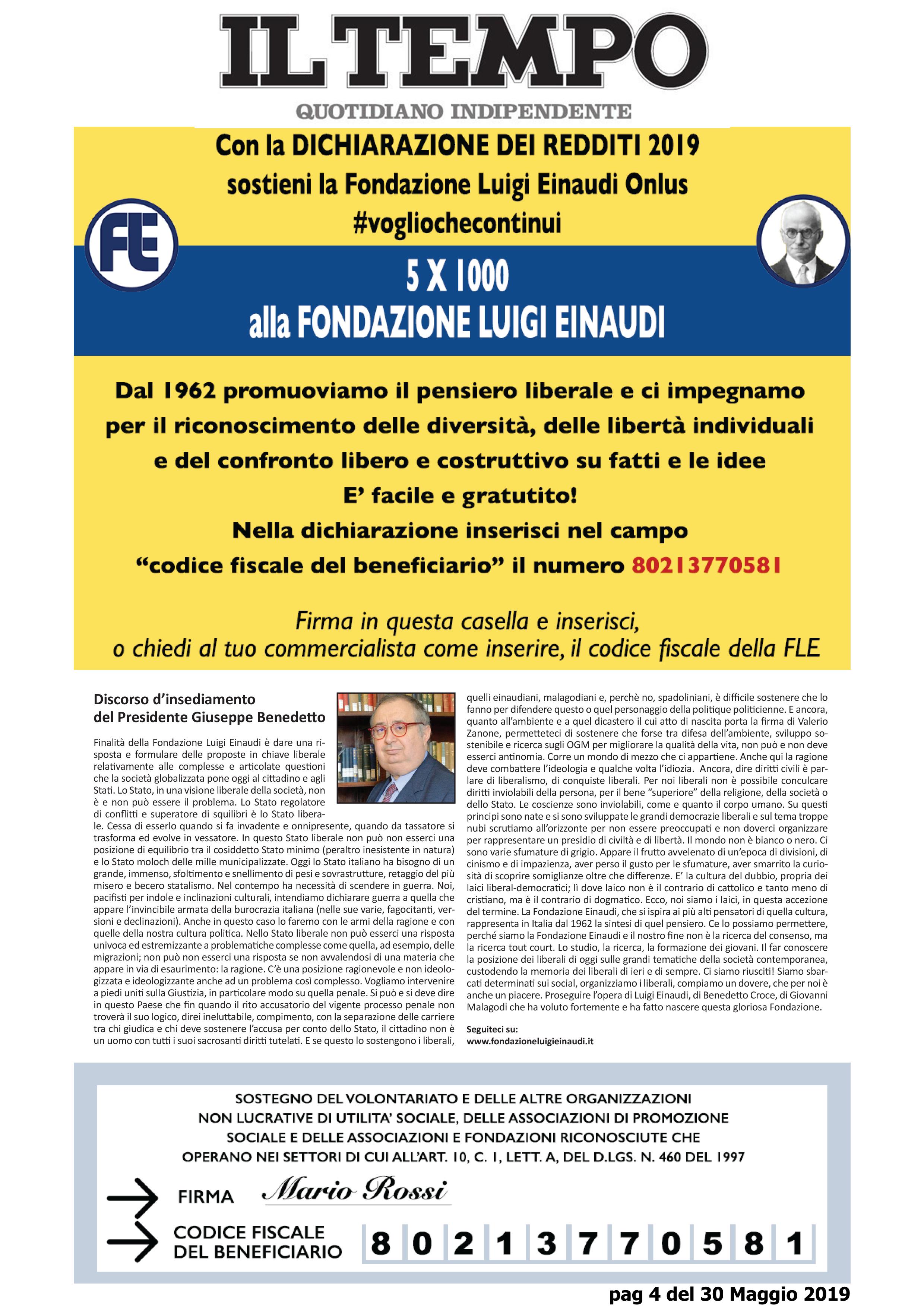 Today the Luigi Einaudi Foundation in Tempo on page 4