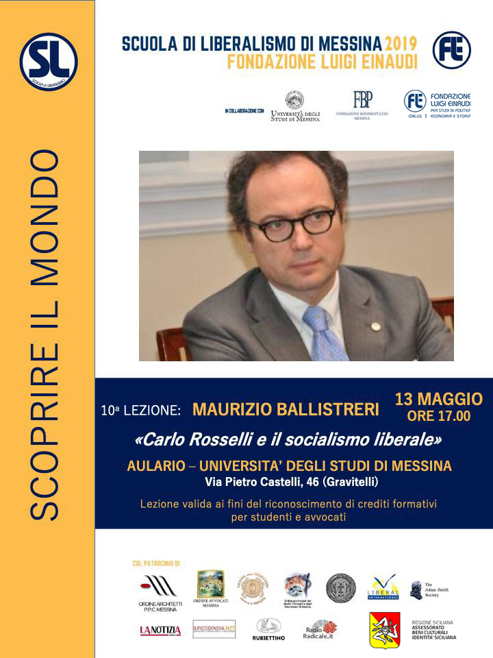 "Liberalism School 2019 – Messina: lesson by Maurizio Ballistreri on the theme ""Carlo Rosselli and liberal socialism"""