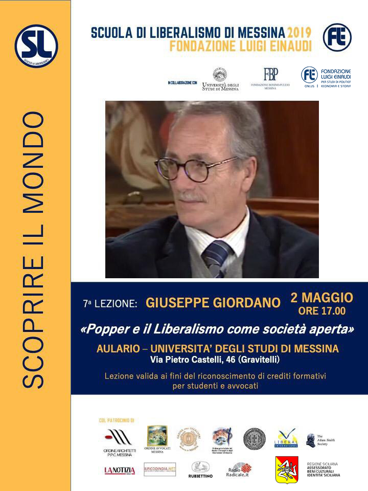 "Liberalism  School 2019 – Messina: Giuseppe Giordano lesson on ""Popper and liberalism as an open society"""