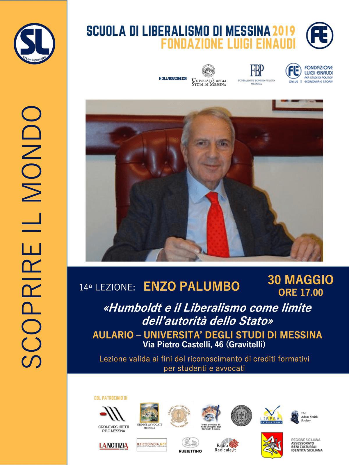"""Scuola di Liberalismo 2019 – Messina: lezione di Enzo Palumbo sul tema """"Humboldt e il Liberalismo come limite dell'autorità dello Stato"""""""