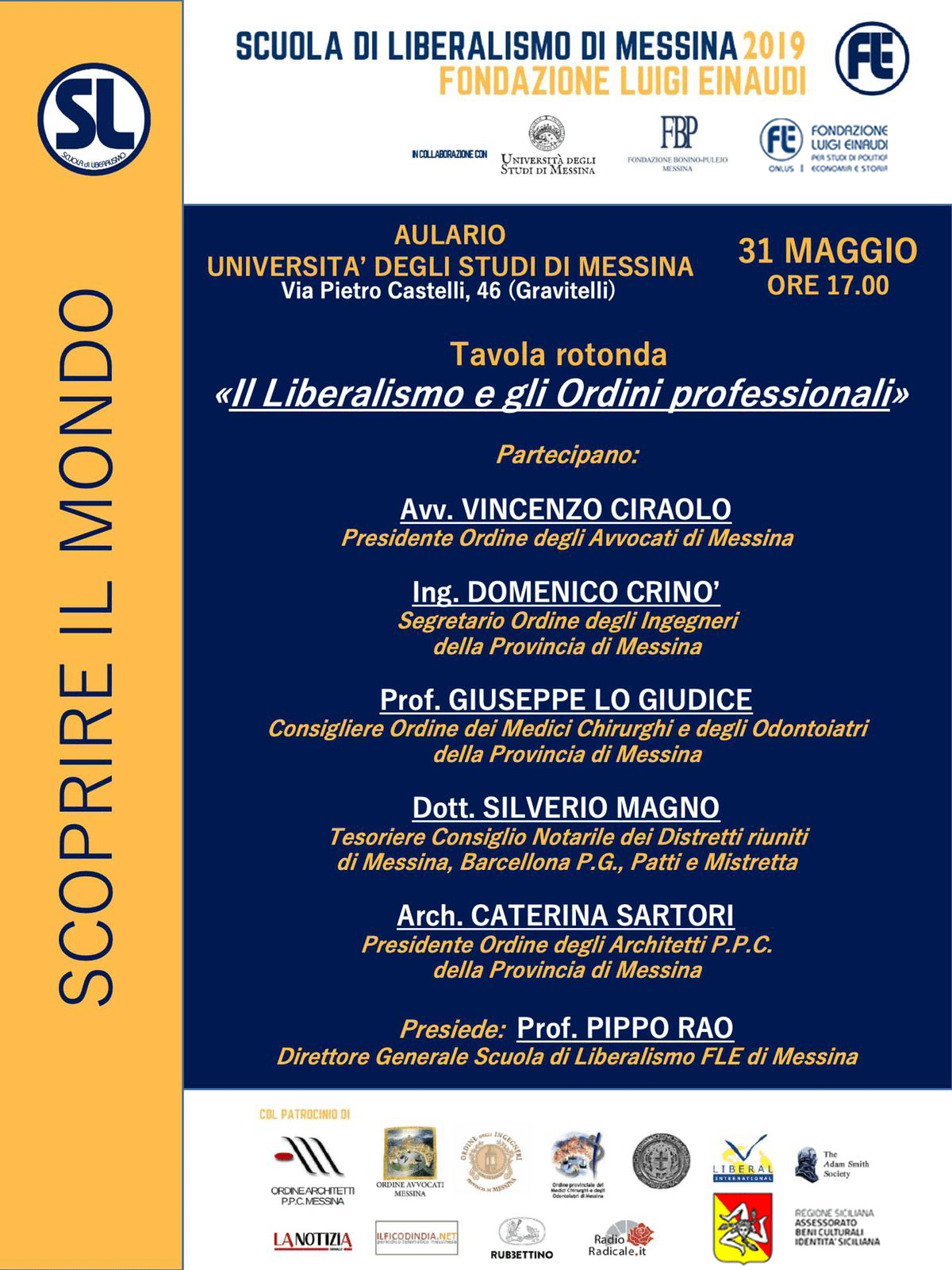 "Liberalism School 2019 – Messina: round table on the theme ""Liberalism and Professional Orders"""
