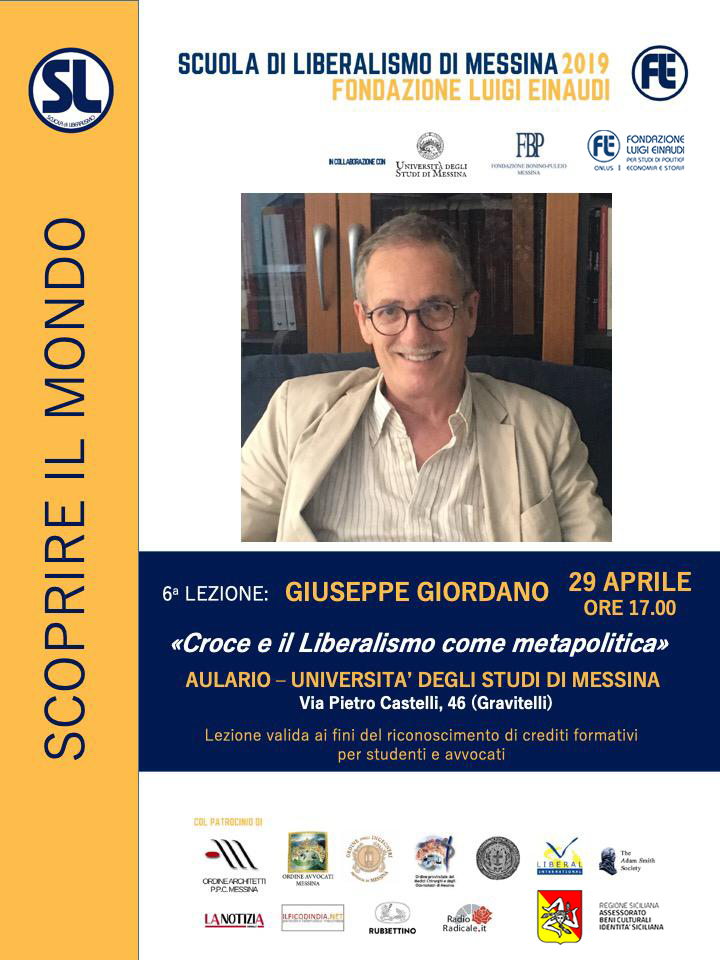 "Liberalism School 2019- Messina: Giuseppe Giordano's lesson on ""Cross and Liberalism as Metapolitics"""