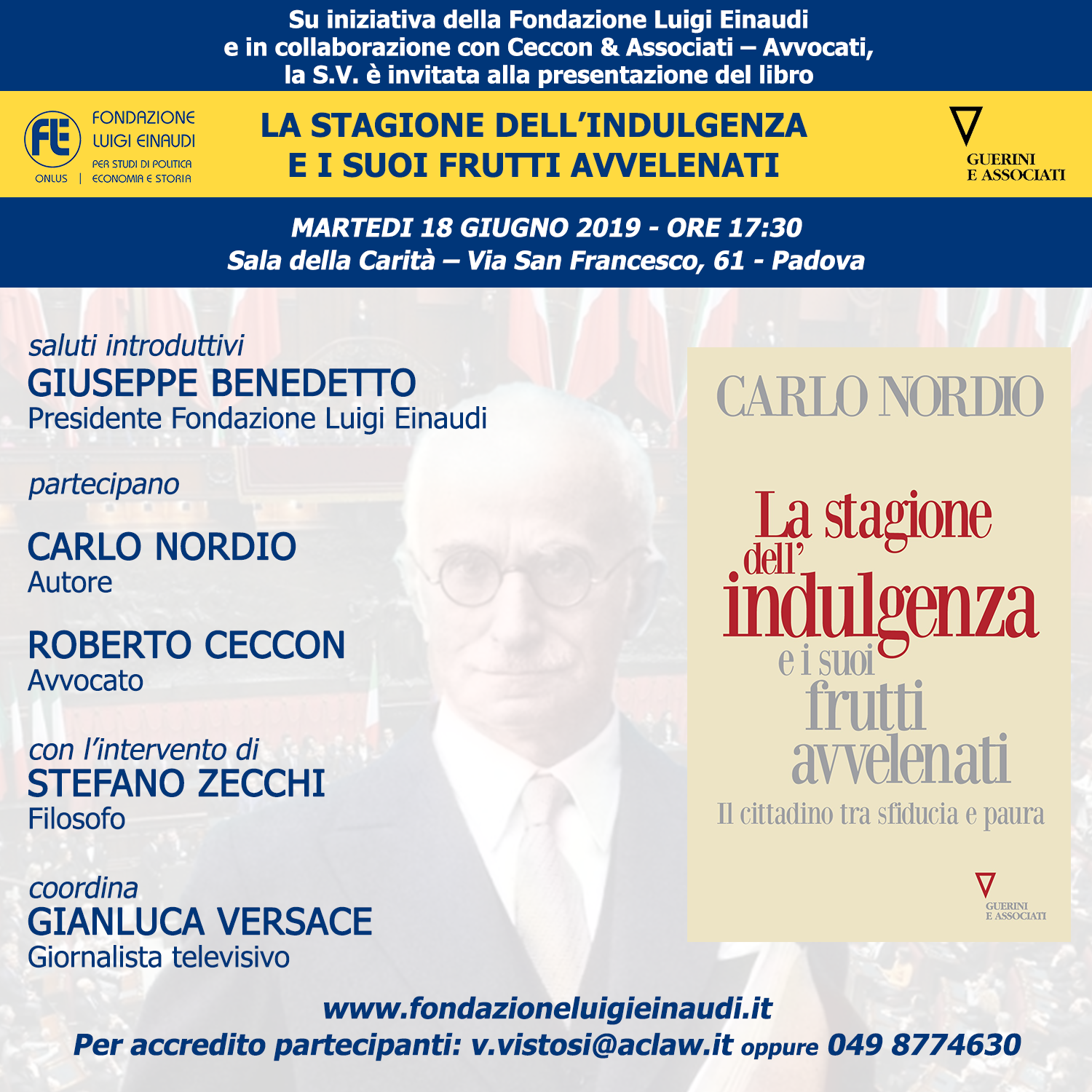 Stage in Veneto for the presentation of the book by Carlo Nordio