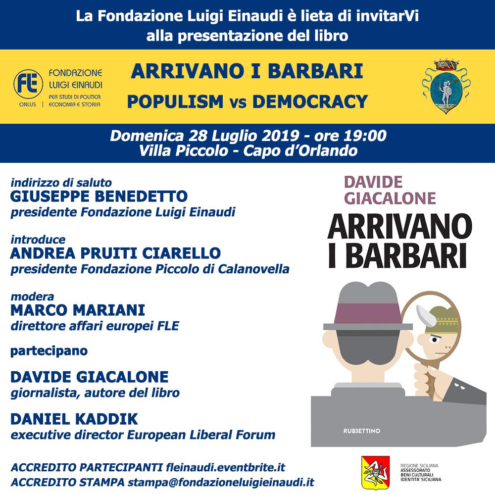 """Presentazione del libro """"Arrivano i barbari"""" di Davide Giacalone, a Villa Piccolo – Capo d'Orlando"""