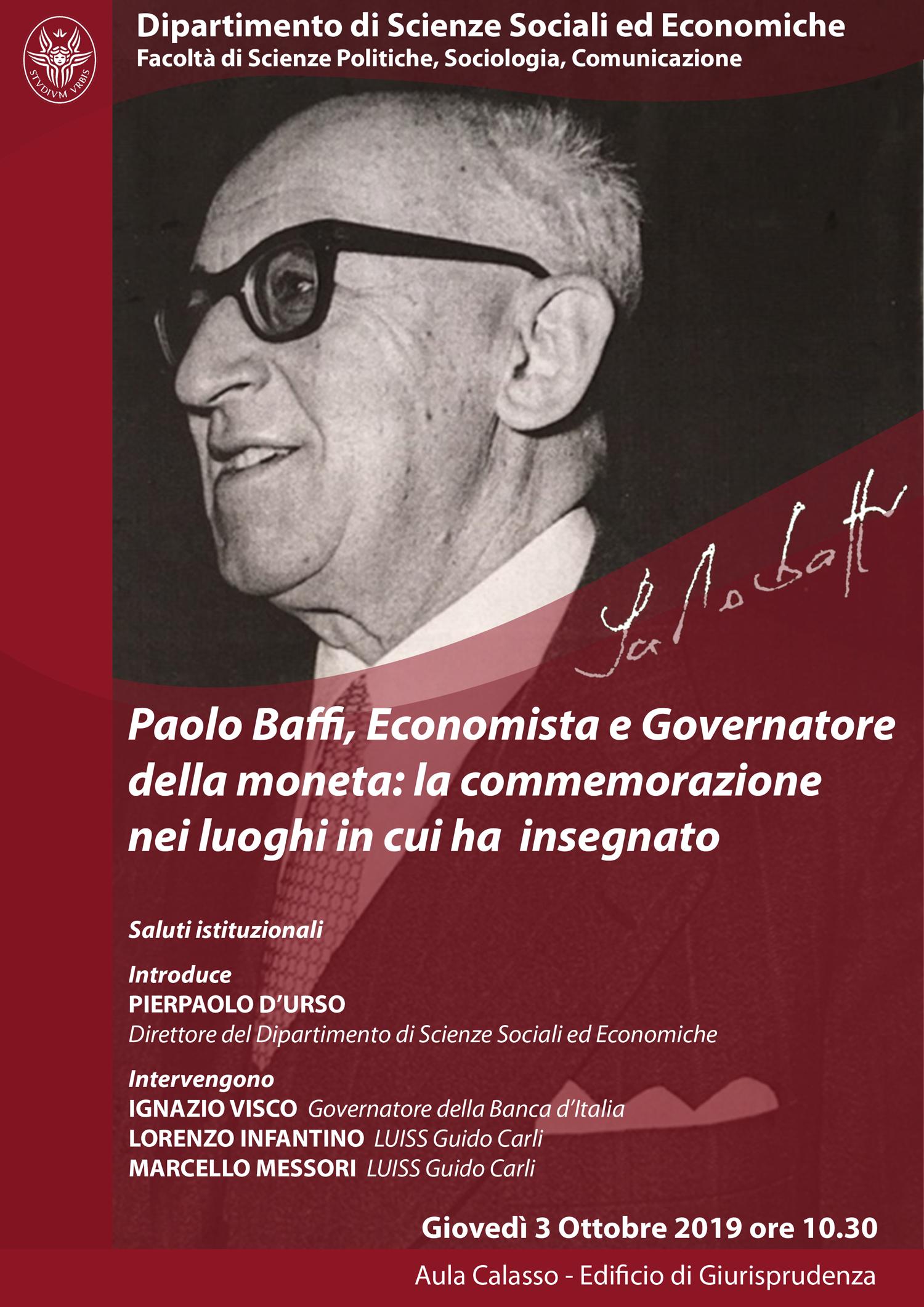 Paolo Baffi, Economista e Governatore della moneta: la commemorazione nei luoghi in cui ha insegnato