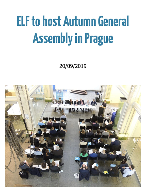 ELF to host Autumn General Assembly 2019 in Prague