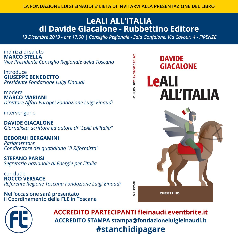 """Presentazione libro """"LeALI ALL'ITALIA"""" di Davide Giacalone a Firenze"""