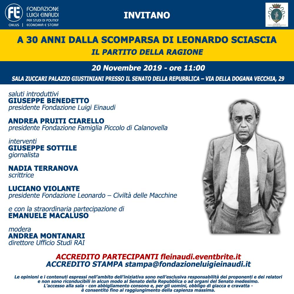A 30 anni dalla scomparsa di Leonardo Sciascia – Il Partito della Ragione