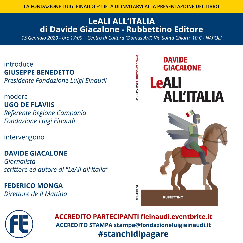"""Presentazione libro """"LeALI ALL'ITALIA"""" di Davide Giacalone, a Napoli"""