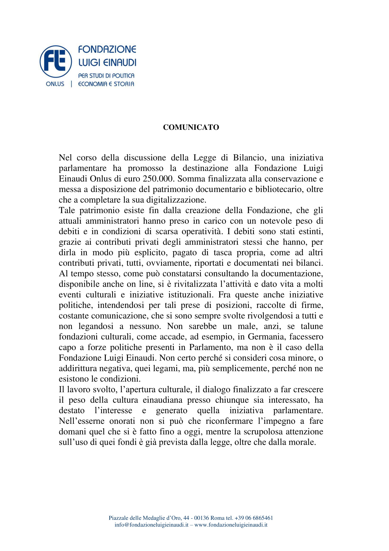 Comunicato della Fondazione Luigi Einaudi