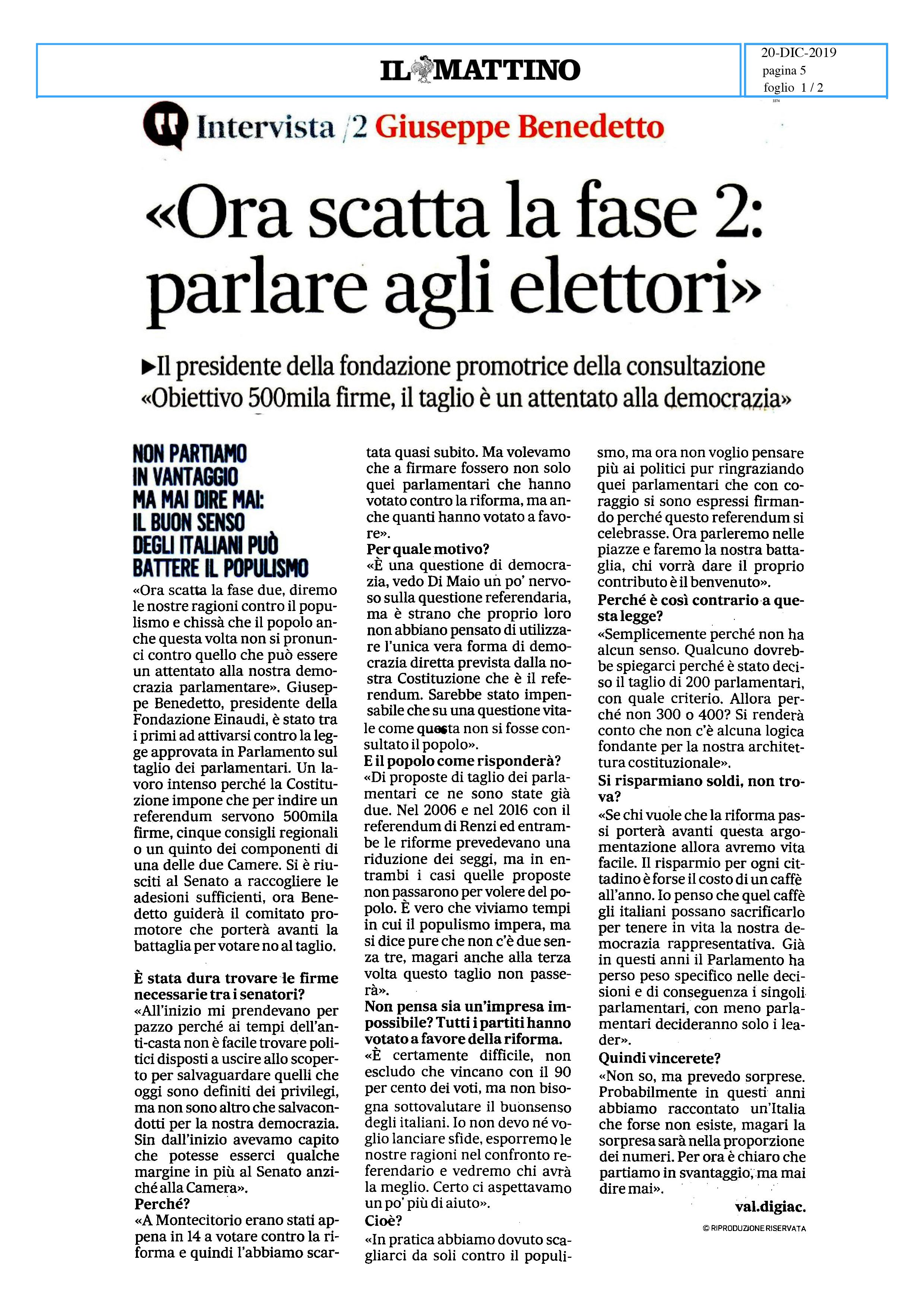 """Intervista del Pres. Benedetto sul """"taglio dei Parlamentari"""", su Il Mattino di oggi"""