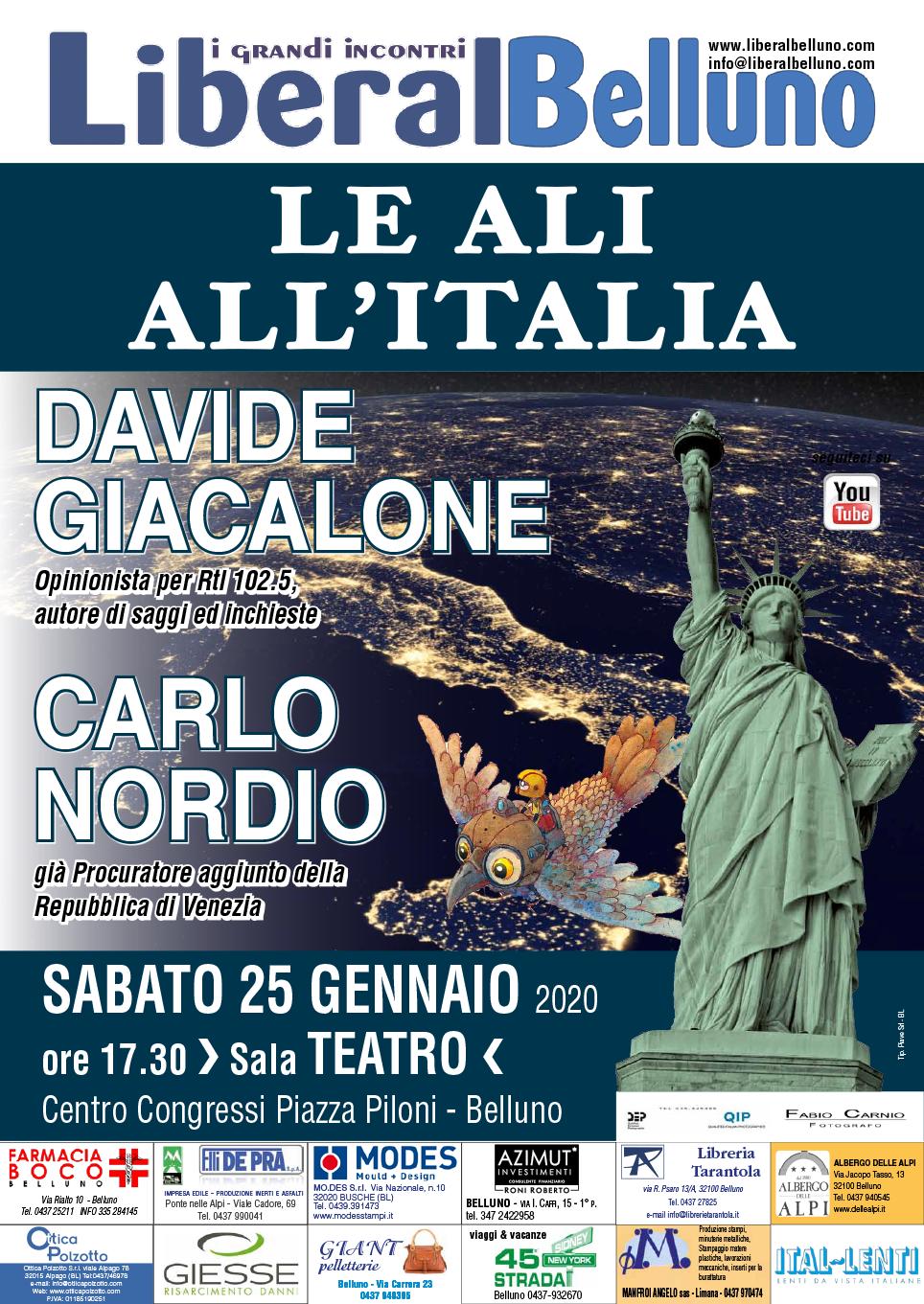 """Presentazione del libro """"LeALI ALL'ITALIA"""" di Davide Giacalone a Belluno"""