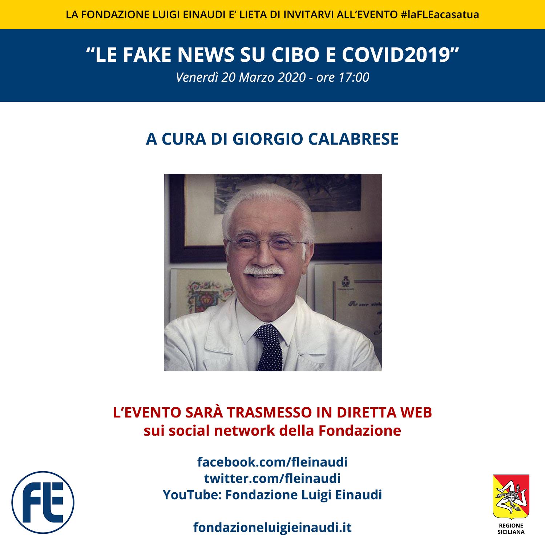 """#laFLEacasatua – Diretta con il Prof. Giorgio Calabrese, tema: """"le fake news su cibo e covid2019"""""""