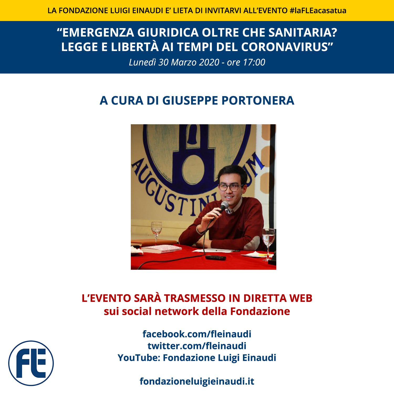 """#laFLEacasatua – Diretta con Giuseppe Portonera, tema """"Emergenza giuridica oltre che sanitaria? Legge e libertà ai tempi del Coronavirus"""""""