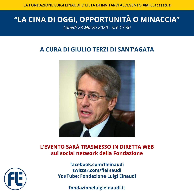 """#laFLEacasatua – Diretta con l'Ambasciatore Giulio Terzi di Sant'Agata, tema """"La Cina di oggi, opportunità o minaccia"""""""