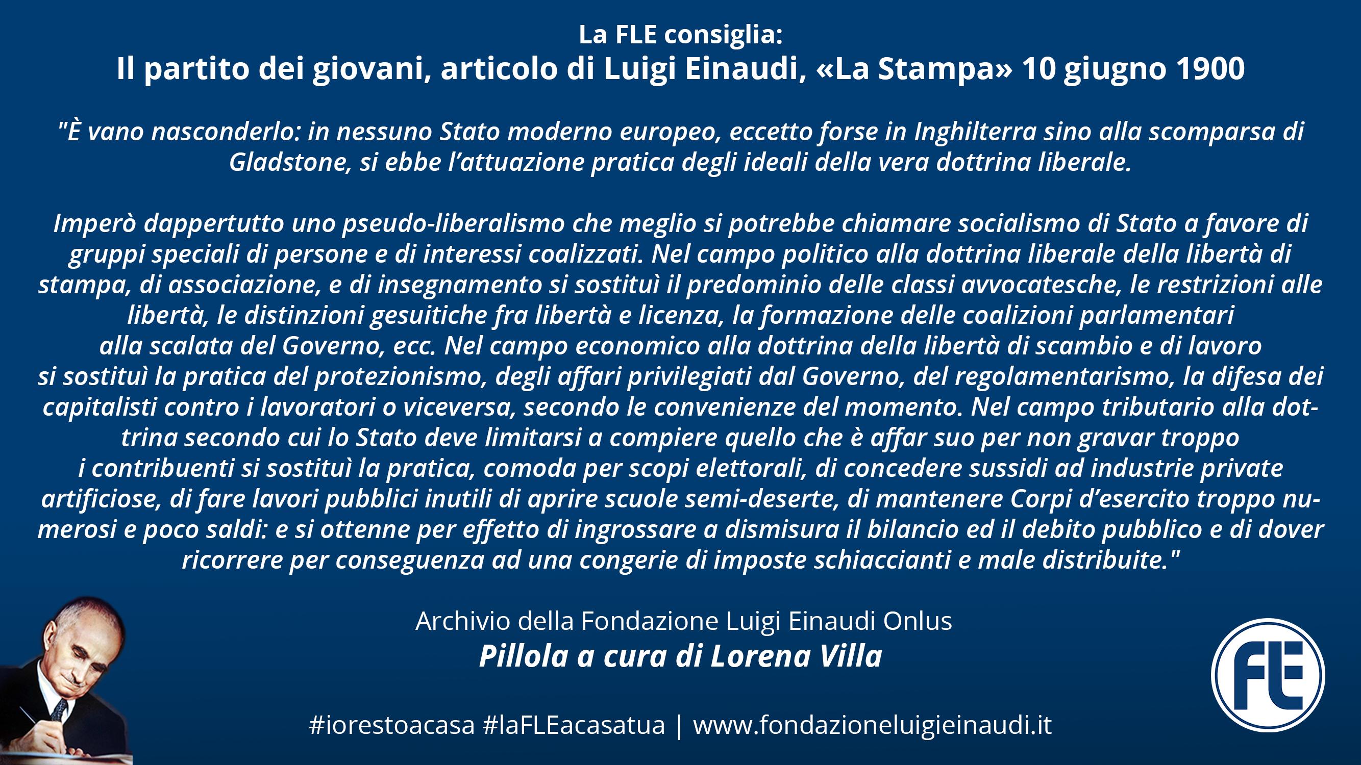 #laFLEacasatua – Il partito dei giovani, articolo di Luigi Einaudi