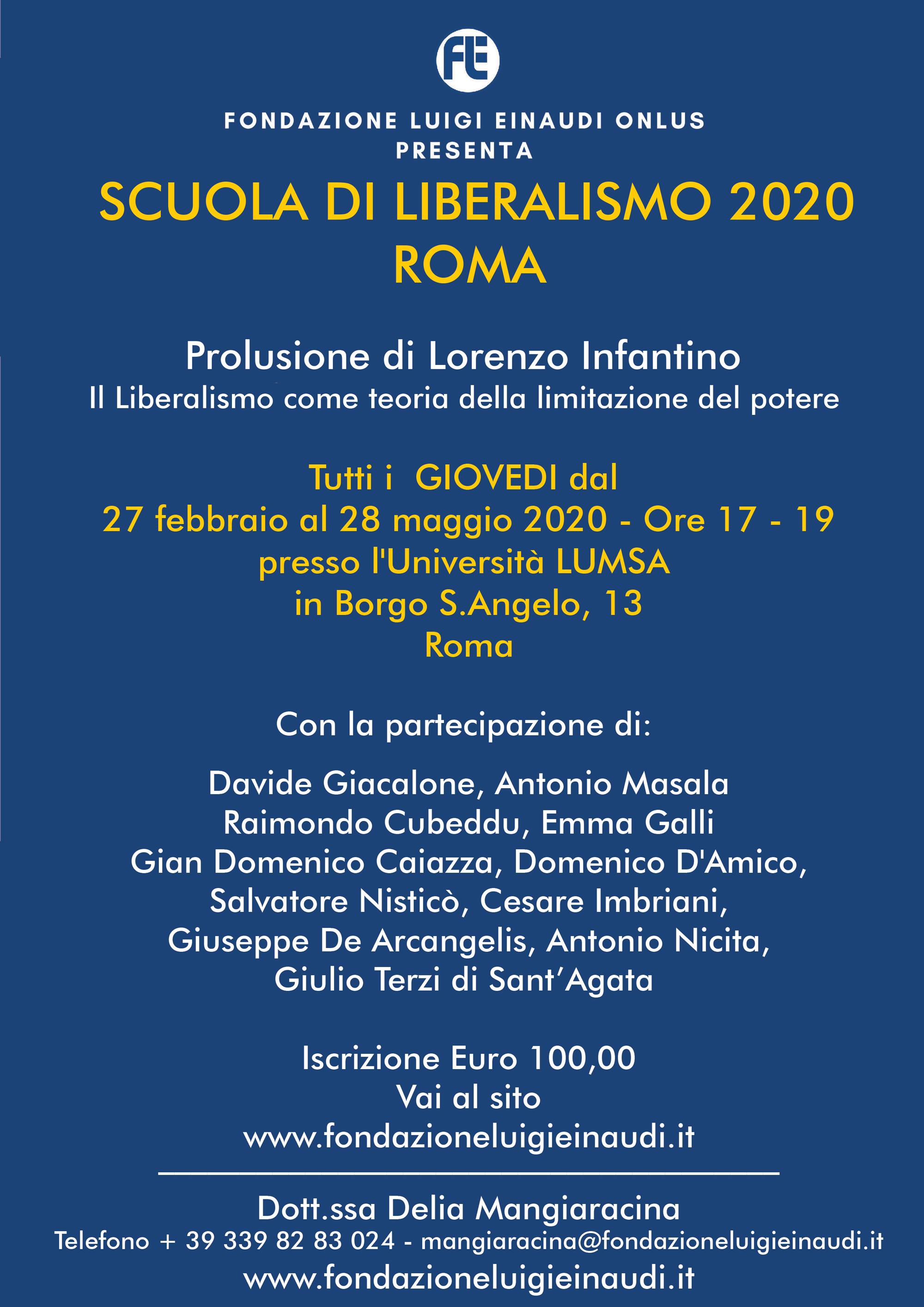 Inaugurazione Scuola di Liberalismo 2020 – Roma