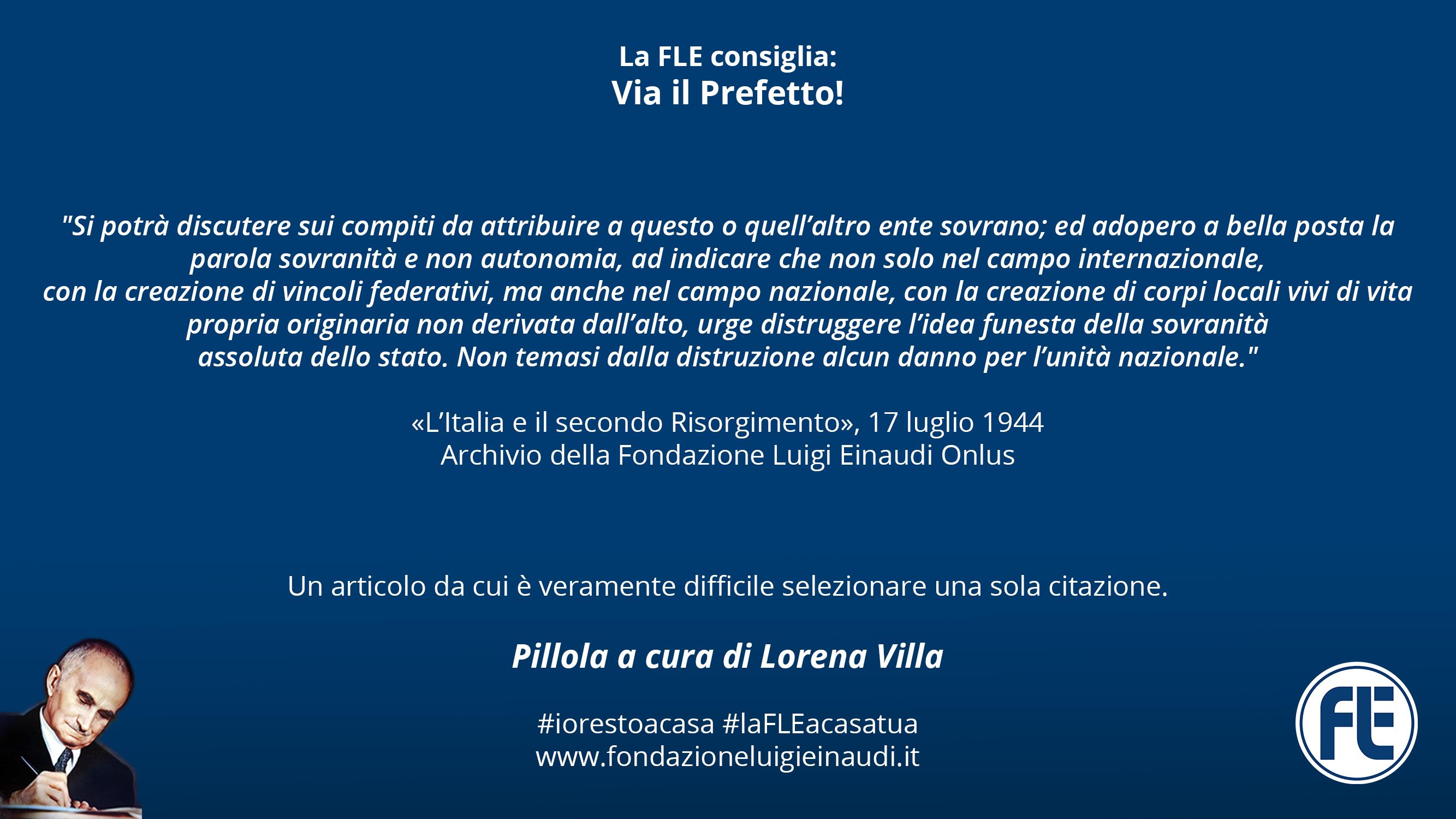 #laFLEacasatua – Pillola #10, Via il Prefetto!