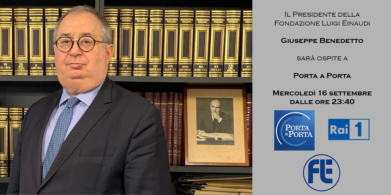 Giuseppe Benedetto, ospite mercoledì 16 settembre a Porta a Porta su Rai 1