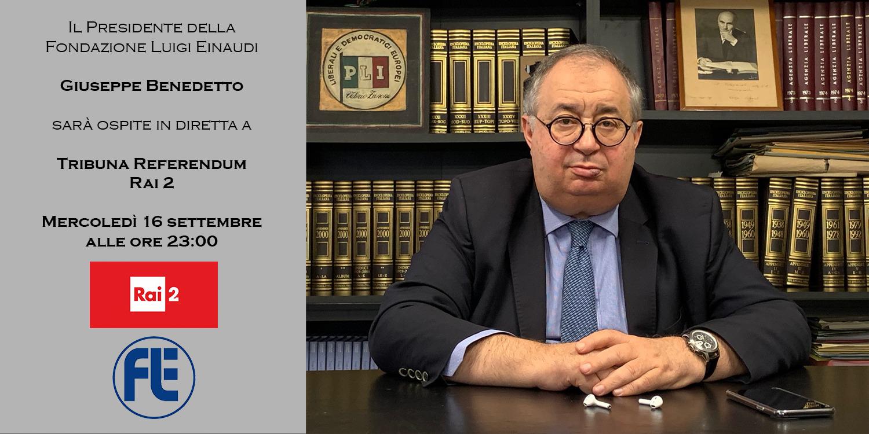 Giuseppe Benedetto ospite a Rai2 mercoledì 16 settembre alle ore 23:00
