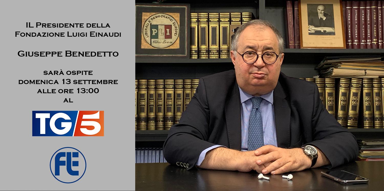Giuseppe Benedetto ospite domenica 13 settembre al Tg5 delle ore 13