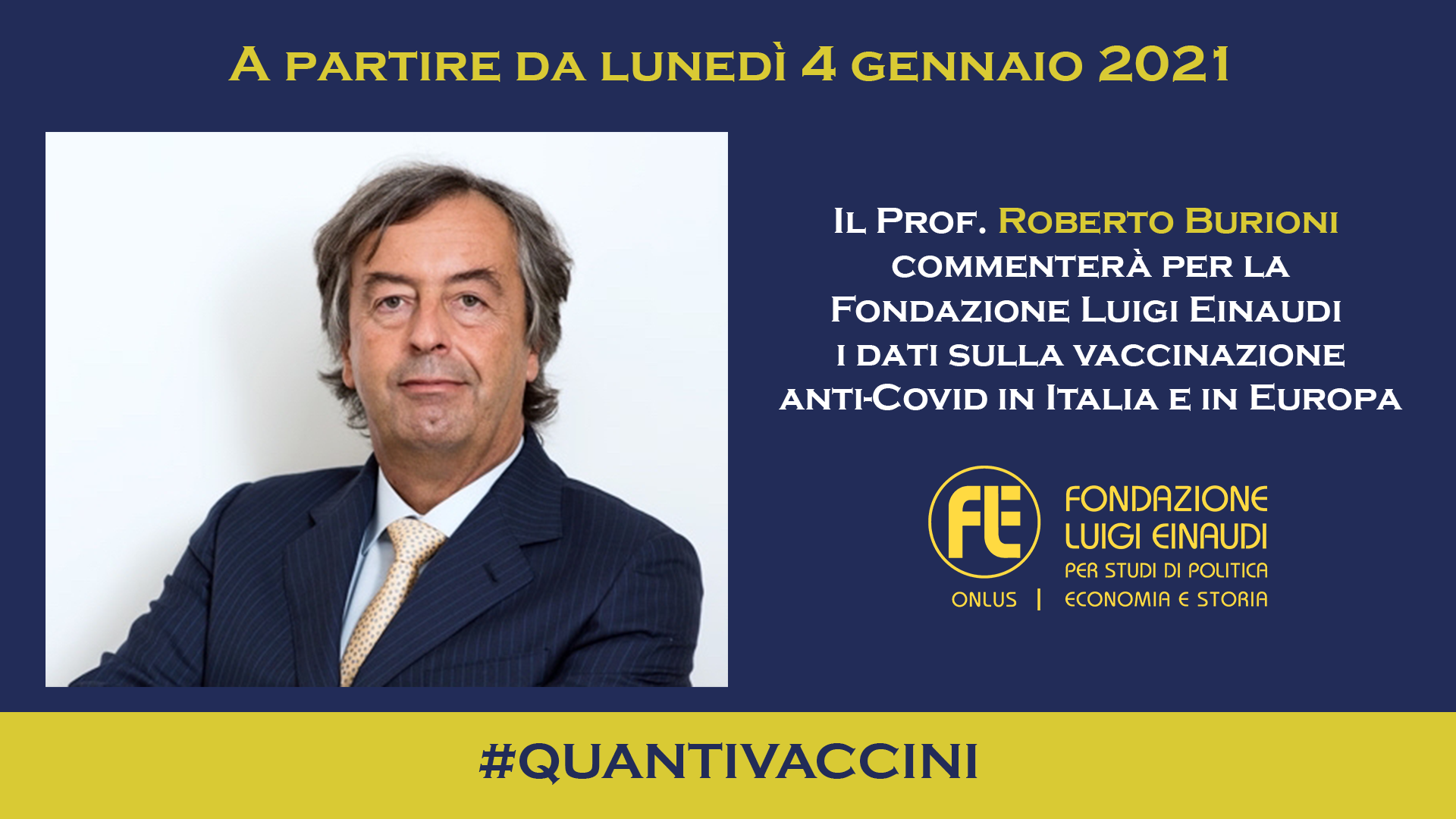 Roberto Burioni in collaborazione con la FLE dal 4 gennaio 2021