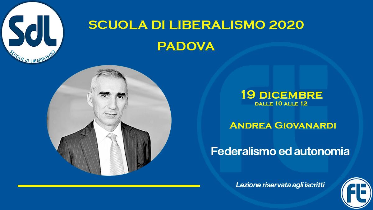 Scuola di Liberalismo 2020 Padova: 19 dicembre lezione di Andrea Giovanardi