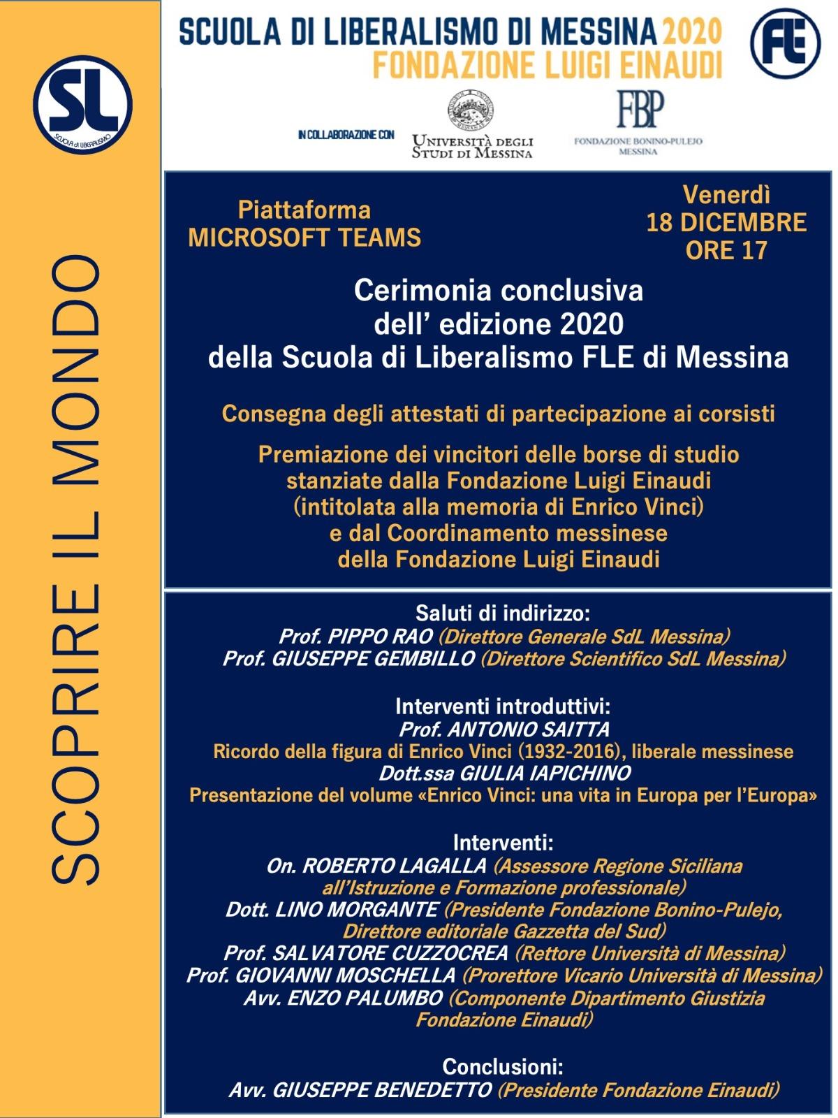 Scuola di Liberalismo 2020 Messina: 18 dicembre cerimonia conclusiva