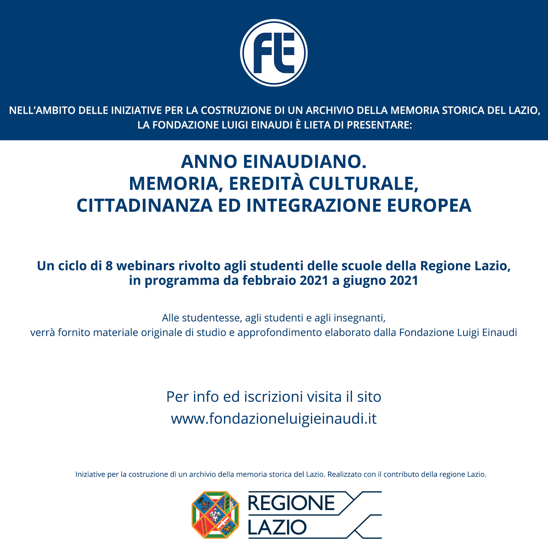 """Lancio dell'iniziativa """"Anno Einaudiano. Memoria, eredità culturale, cittadinanza ed integrazione Europea"""""""