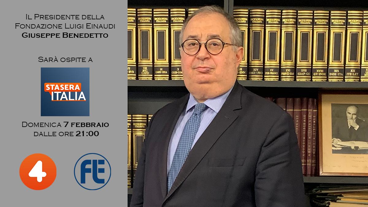 Il Presidente Giuseppe Benedetto ospite domenica 7 febbraio a Stasera Italia su Rete 4