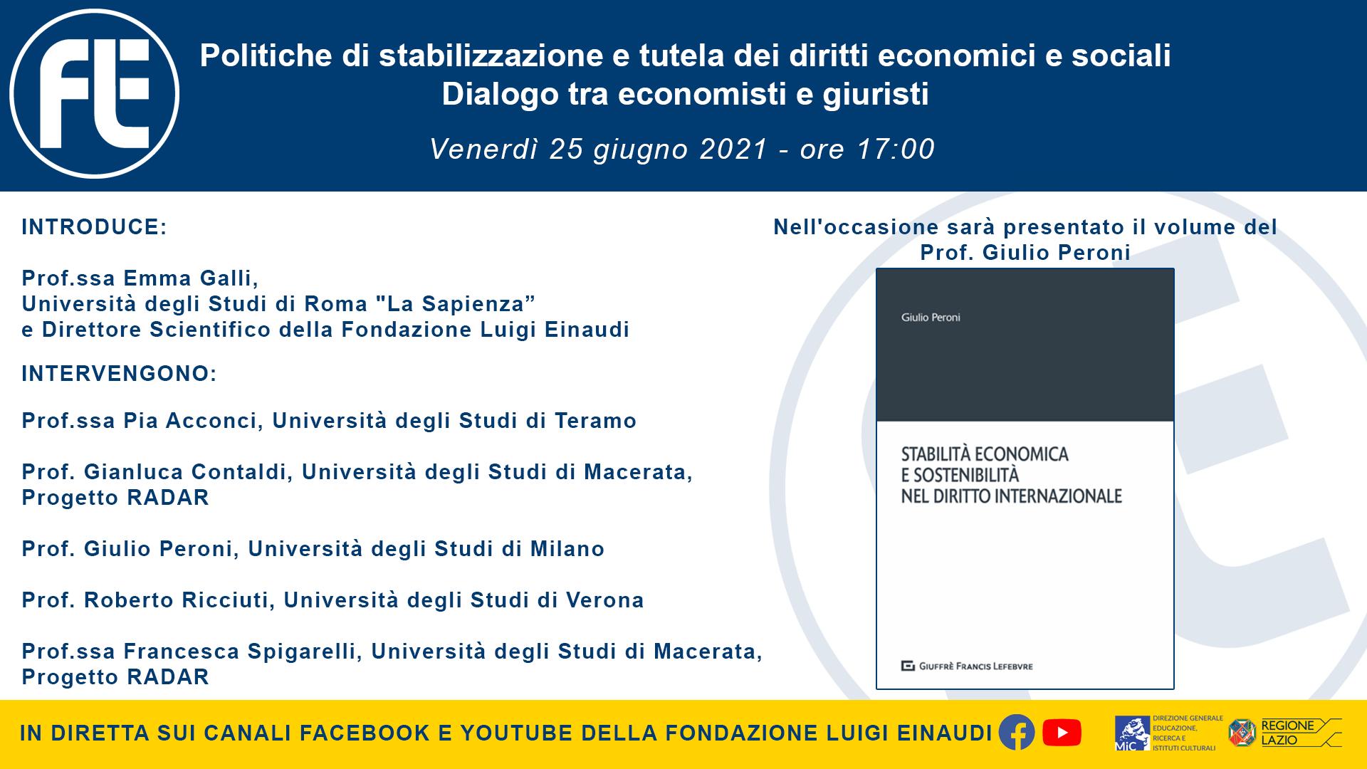 Politiche di stabilizzazione e tutela dei diritti economici e sociali – 25 giugno ore 17:00