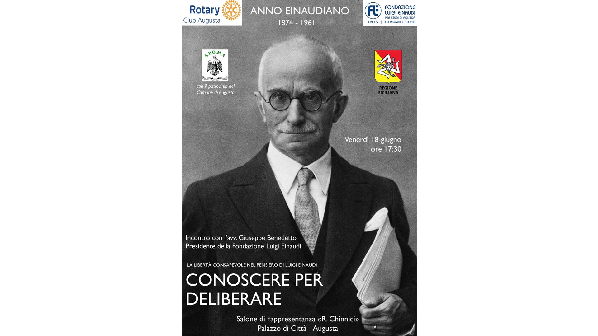 """""""La libertà consapevole nel pensiero di Luigi Einaudi"""" – 18 giugno ore 17:30, Augusta"""