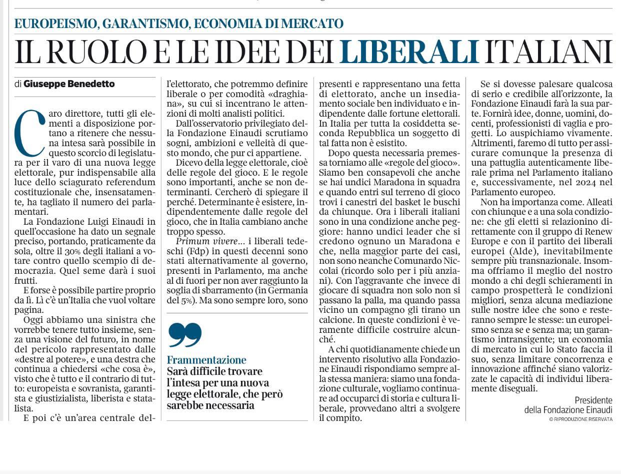 Il ruolo e le idee dei liberali italiani – Articolo del Presidente Giuseppe Benedetto sul Corriere della Sera