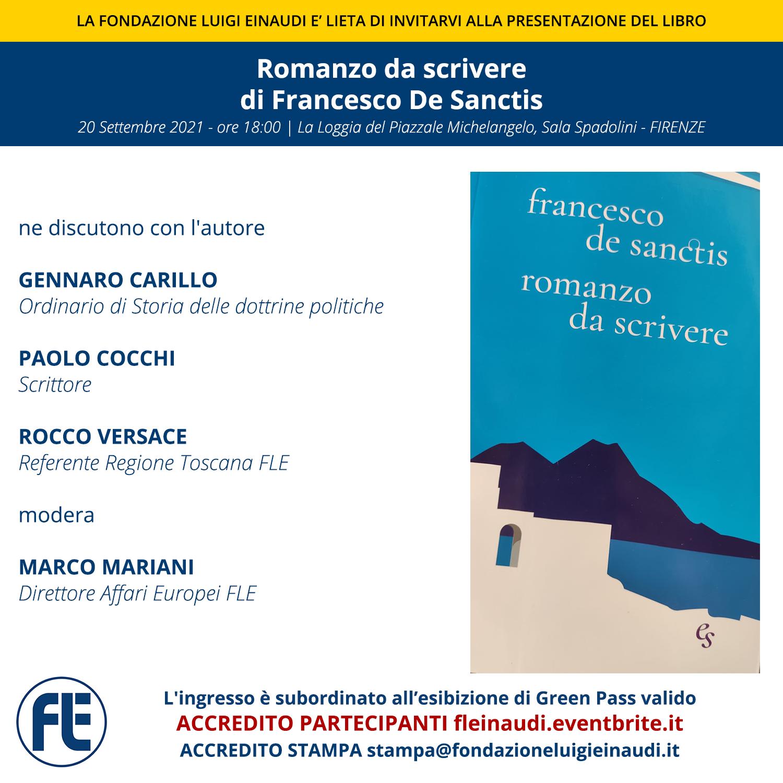 """Presentazione del libro """"Romanzo da scrivere"""" di Francesco De Sanctis"""