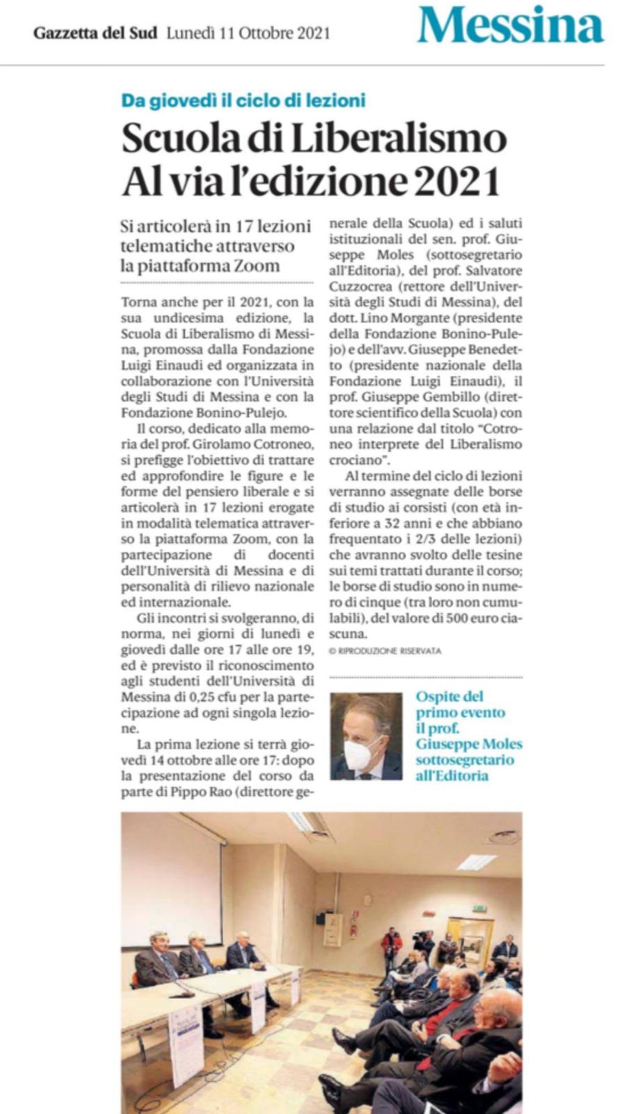 Scuola di Liberalismo Messina. Al via l'edizione 2021